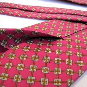 Hermes Accessories - HERMES PARIS Tie 7201 UA Melon Salmon Pink Stripe